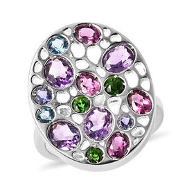 RACHEL GALLEY Amethyst, Rhodolite Garnet and Multi Gemstone Ring in Rhodium Overlay Sterling Silver