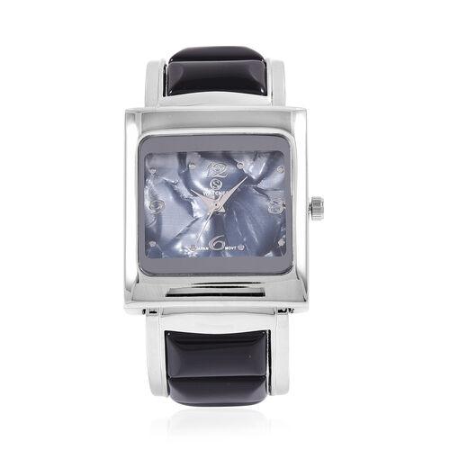 2 Piece Set- STRADA Japanese Movement Bangle Watch with Black Agate Round Bead Stretchable Bracelet 174.00 Ct.