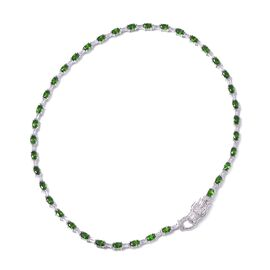 Russian Diopside (Ovl), White Topaz Dragon Head Necklace (Size 18) in Rhodium Overlay Sterling Silve