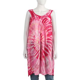 Tie-Dye Embroidered V Neck Summer Dress - One Size Fits All: Length: 90cm - Pink