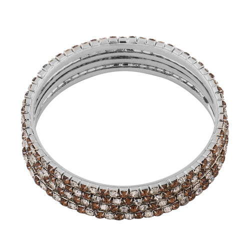 4 Piece Set - Light Brown Austrian Crystal Bangle (Size 7.5) in Silver Tone