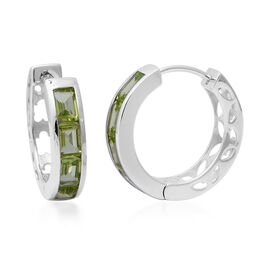 aa Hebei Peridot Hoop Earrings (with Clasp) in Rhodium Overlay Sterling Silver 4.50 Ct, Silver wt 8.