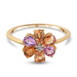Rainbow Sapphire and Natural Cambodian Zircon Floral Ring in 14K Gold Overlay Sterling Silver 1.20 c