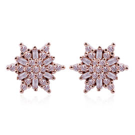 9K Rose Gold Natural Pink Diamond (Rnd and Bgt) Stud Earrings 0.35 Ct.