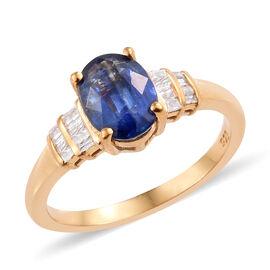 AAA Kashmir Blue Kyanite (Ovl 1.50 Ct), Diamond Ring in 14K Gold Overlay Sterling Silver 1.590 Ct.