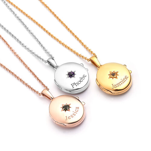 Personalise Engraved Name and Birthstone Locket with Chain in Silver