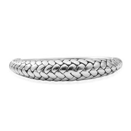 Rhodium Overlay Sterling Silver Bangle (Size 7), Silver wt 16.72 Gms