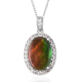 4.29 Ct Canadian Ammolite and Zircon Halo Pendant With Chain in Rhodium Sterling Silver