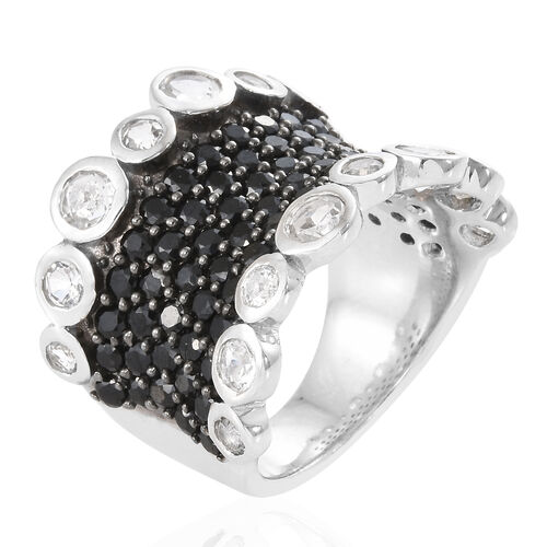 Boi Ploi Black Spinel (Rnd), White Topaz Ring in Platinum Overlay With Black Plating Sterling Silver 6.500 Ct, Silver wt 9.30 Gms.