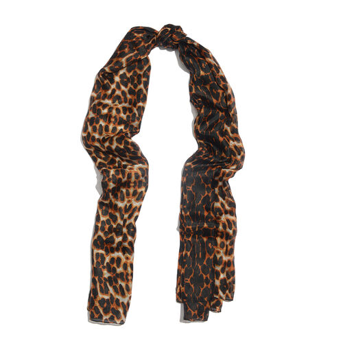 100% Mulberry Silk Black and Orange Colour Handscreen Leopard Printed Scarf (Size 170x100 Cm)
