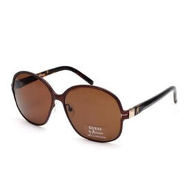 GUESS MARCIANO Womens Oversized Brown Metal Sunglasses with Brown Lenses