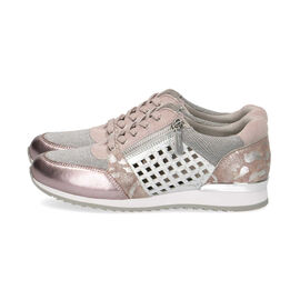 Caprice Leather Metallic Trainer - Pink