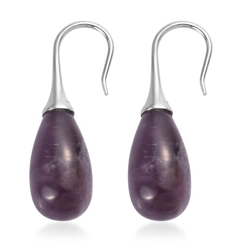 Sundays Child - Amethyst Hook Earrings in Platinum Overlay Sterling Silver 27.50 Ct.