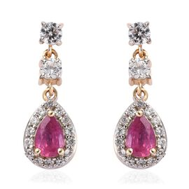 9K Yellow Gold African Ruby and Natural Cambodian Zircon Drop Earrings (with Push Back) 2.25 Ct.