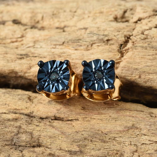 Blue Diamond (Rnd) Stud Earrings (with Push Back) in 14K Gold and Blue Overlay Sterling Silver.