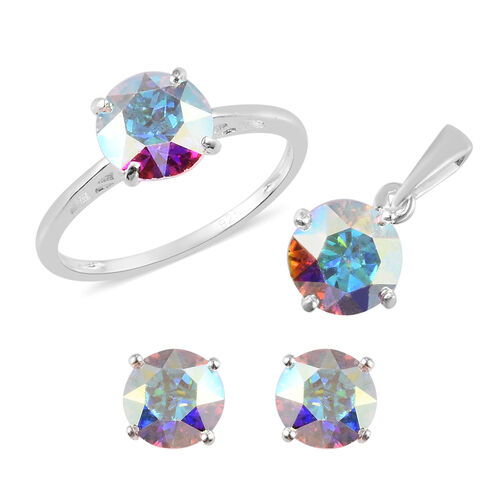 3 Piece Set - J Francis Crystal from Swarovski AB Crystal Solitaire Ring, Stud Earrings (with Push B