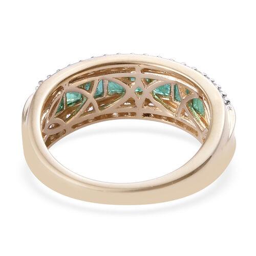 9K Yellow Gold Premium AA Brazilian Emerald (Sqr), Natural Cambodian Zircon Ring 1.250 Ct.