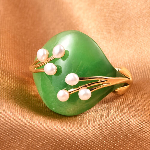 Green Jade and Freshwater Pearl Ring in Yellow Gold Overlay Sterling Silver 12.50 Ct.