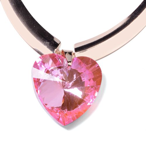 Set of 2 Simulated Pink Sapphire (Hrt) BIB Necklace (Size 20) and Erarrings (with Push Back)  in Rose Gold Plated