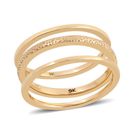 High Finish Plain and Texture Band Stacker Ring in 9K Yellow Gold 4.58 grams