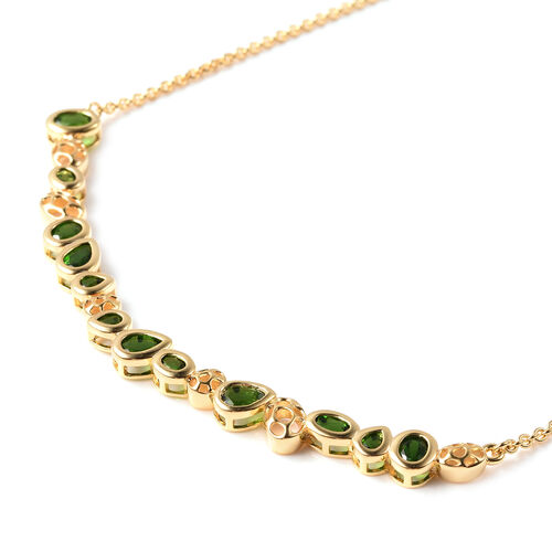 RACHEL GALLEY Misto Collection - Russian Diopside Necklace (Size 20) in Yellow Gold Overlay Sterling Silver 3.79 Ct, Silver wt. 10.38 Gms