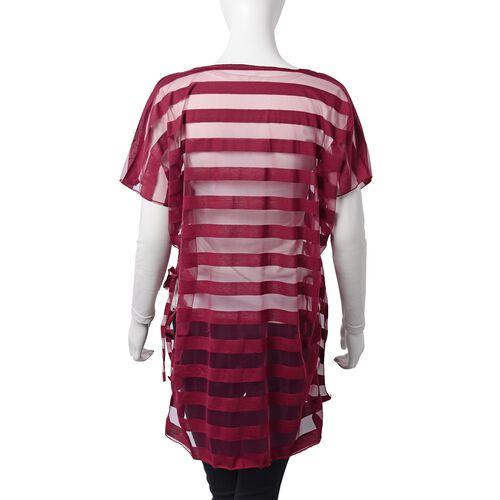 One Time Mega Deal-Wine Red Colour Transparent Stripe Pattern Vest (Size 75x65 Cm)