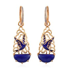 GP 12.25 Ct Lapis Lazuli and Kanchanaburi Blue Sapphire Bird Drop Earrings in Gold Plated Silver
