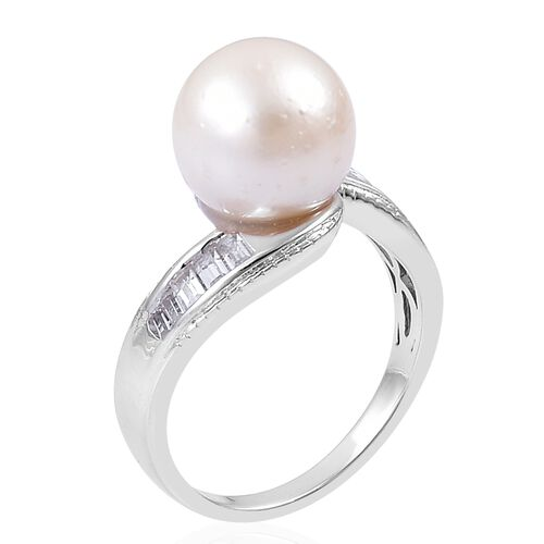 South Sea White Pearl (Rnd 11-11.5 mm), White Topaz Ring in Rhodium Plated Sterling Silver