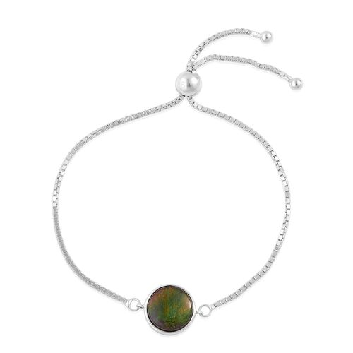 AA Canadian Ammolite (Rnd) Adjustable Bracelet (Size 6 to 7.5) in Platinum Overlay Sterling Silver 2.500 Ct.
