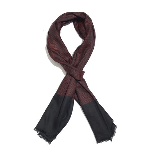 100% Cashmere Wool Burgundy and Black Colour Scarf with Fringes (Size 200X70 Cm)