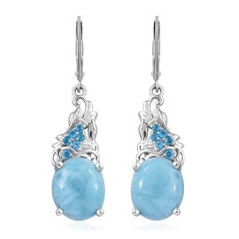 Larimar (Ovl 12x10 mm), Malgache Neon Apatite Lever Back Earrings in Platinum Overlay Sterling Silver 10.250 Ct.