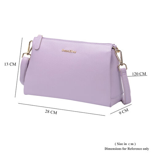 SENCILLEZ 100% Genuine Leather Crossbody Bag with Zipper Closure and Detachable Shoulder Strap (Size 28x9x17cm) - Lilac