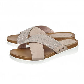 Lotus Pink Sharon Flat Mule Sandals