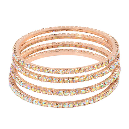 4 Piece Set Simulated Rainbow Sapphire Bangle (Size 7.75) in Rose Gold Tone