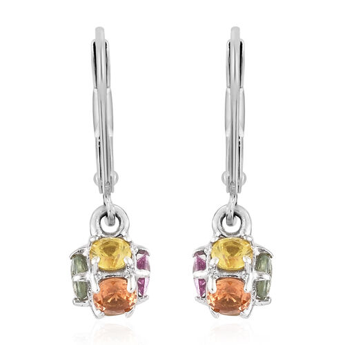 Multi Sapphire (Rnd) Lever Back Earrings in Platinum Overlay Sterling Silver 1.750 Ct.