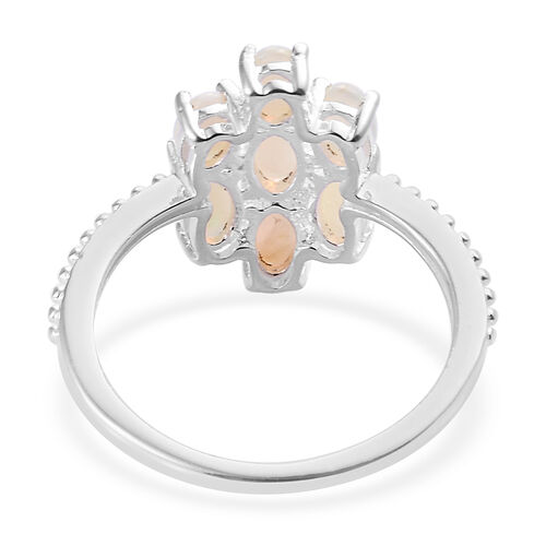 Natural Australian Opal (Ovl 5x3 mm) Ring in Sterling Silver 1.00 Ct.