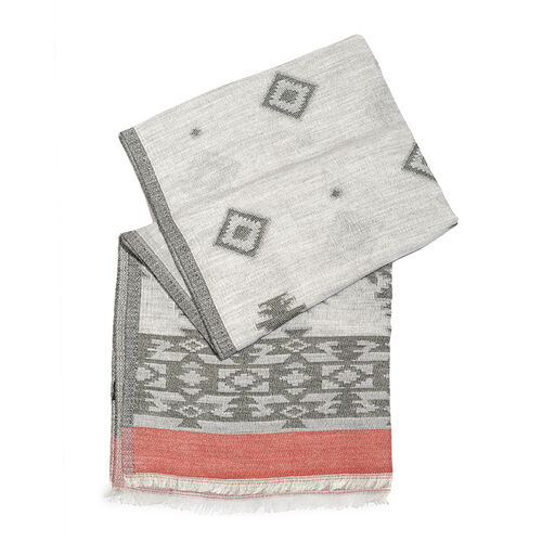 Grey, White and Pink Colour Rhombus Pattern Scarf with Fringes (Size 180X70 Cm)