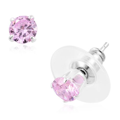 Sterling Silver Set of 7 Multi Colour Simulated Diamond Push Back Earrings