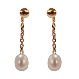 One Time Deal-9K Yellow Gold Freshwater Pearl Dangle Earrings