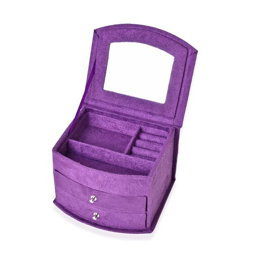 Purple Colour 3 Layer Velvet Jewellery Box with Mirror Inside and 2 Removable Drawers (Size 14.5x12x10.5 Cm)