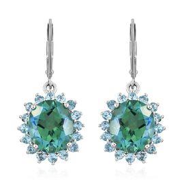 Peacock Quartz (Ovl), Blue Topaz Lever Back Earrings in Platinum Overlay Sterling Silver 11.250 Ct.