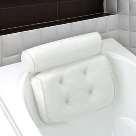 Comfy Breathable 3D Bath Pillow for Neck and Back Support with 6 Suction Cups (Size 35x32x8cm) - Whi