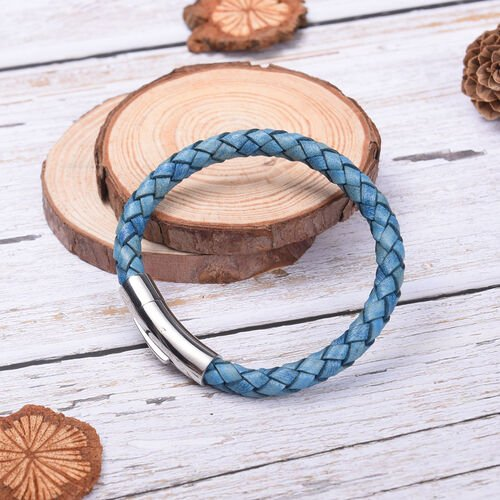 Genuine Braided Leather Bracelet (Size 7) in Stainless Steel - Blue