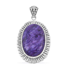 Royal Bali Collection - Russian Charoite Pendant in Sterling Silver 31.64 ct, Silver wt 8.00 Gms