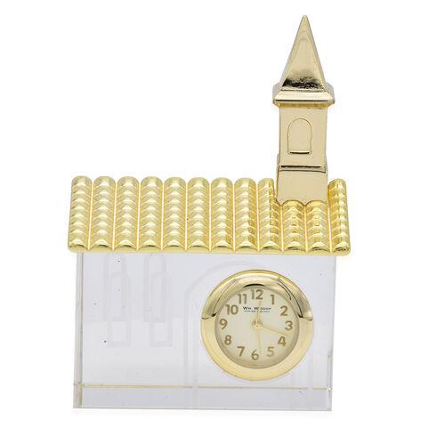 WILLIAM WIDDOP - Miniature Glass Church Clock in Gold Tone