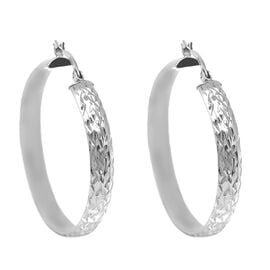 JCK Vegas Collection- Sterling Silver Diamond Cut Hoop Earrings (with Clasp)