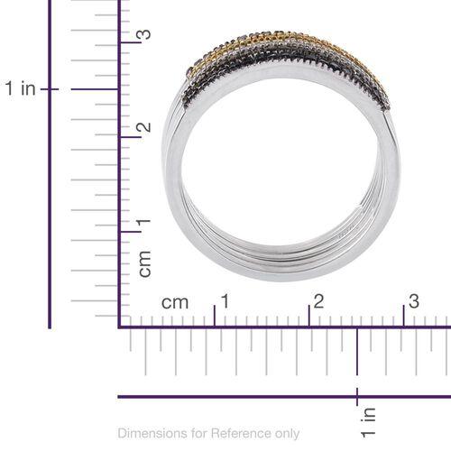 Set of 5 - Red Diamond (Rnd), Black Diamond, Blue Diamond, Yellow Diamond and White Diamond Ring in Platinum Overlay Sterling Silver 0.500 Ct.