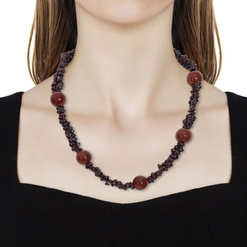 Rhodolite Garnet and Red Onyx Beads Two Layer Necklace (Size 20) with Lobster Lock in Platinum Overlay Sterling Silver 307.500 Ct