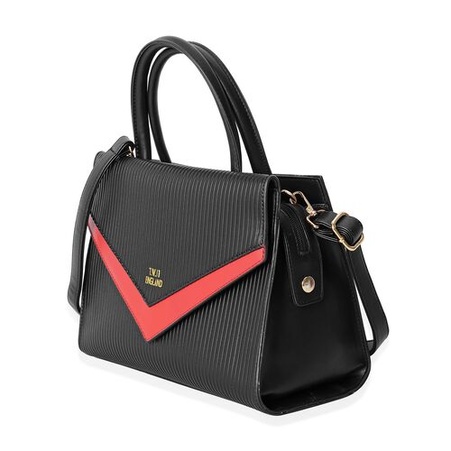 TW11 COLLECTION Black and Red Colour Tote Bag with External Zipper Pocket (Size 28.5x22x12 Cm)