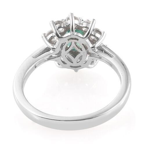 Kagem Zambian Emerald (Ovl) Natural Cambodian Zircon Sunburst Ring in Platinum Overlay Sterling Silver 1.500 Ct.